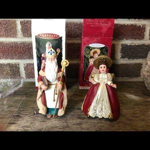 Hallmark Victorian Angel 1998 & Santa 1995 MIB
